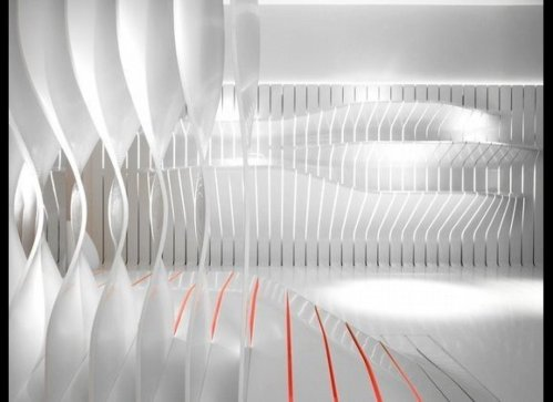 Corian Super-Surfaces Showroom by Amanda Levete Architects in Milan, Italy.