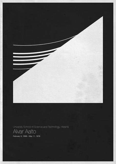 """Seis pósters de los """"grandes"""" arquitectos by Andrea Gallo"""
