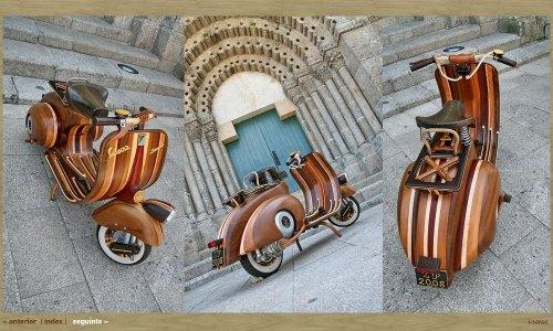 """Vespa """"el icono"""" de los años '50 reconstruida en madera by Carpinteria Carlos Alberto"""